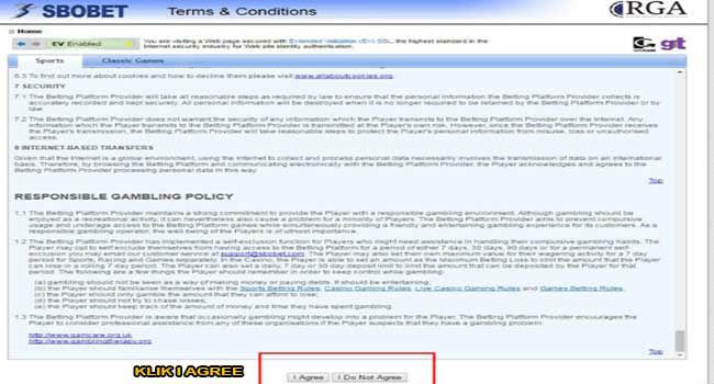 Menu untuk melihat peraturan di situs sbobet
